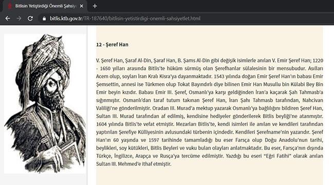 Bitlis Kültür Müdürlüğü Şeref Han'ı Acem Asıllı Olarak Tanıttı